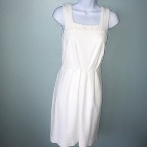 White pique textured shift dress